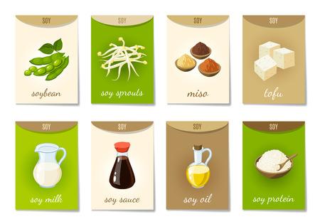 soya: Conjunto de AD-tarjetas (banners, etiquetas, paquetes de alimentos de soja) con dibujos animados - la leche de soja, salsa de soja, brotes de soja, tofu, miso, aceite de soja, proteína de soja y granos de soja. ilustración vectorial, aislado en blanco, eps 10. Vectores