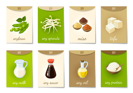 Set of AD-cards (banners, tags, package) with cartoon soy food - soy milk, soy sauce, soy sprouts, tofu, miso, soy oil, soy protein and soy beans. Vector illustration, isolated on white, eps 10. Vettoriali