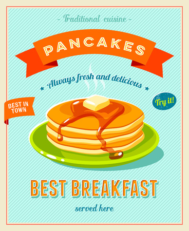caffe: Best breakfast - vintage restaurant sign. Retro styled poster with pile of best in town pancakes with butter and maple syrup. Vector illustration, eps10.