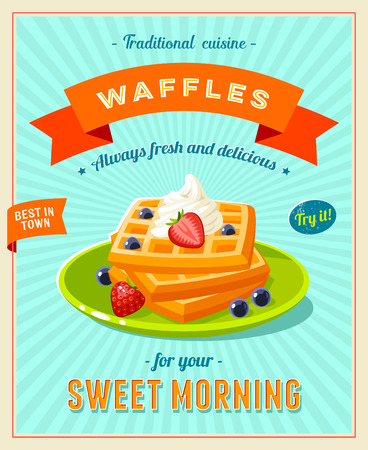 launching: Best breakfast - vintage restaurant sign. Retro styled poster with pile of best in town waffles topped with whipped cream and berries. Vector illustration, eps10.