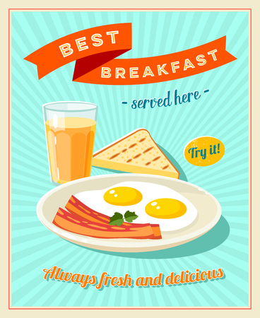 caffe: Best breakfast - vintage restaurant sign. Retro styled poster with fried eggs, slices of bacon, toast and glass of orange juice. Vector illustration, eps10.
