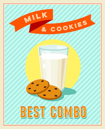 milk and cookies: Best combo - vintage restaurant sign. Retro styled poster with glass of milk and cookies. Vector illustration, eps10.
