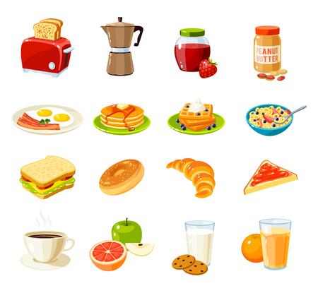 Conjunto de alimentos de dibujos animados: el desayuno. Tostadora / cafetera / mermelada / mantequilla de maní / huevos fritos y bacon / tortitas / gofres / cereales / sándwich / pan / croissant / fruta / jugo y así. Ilustración del vector aislado en blanco. Foto de archivo - 59018313