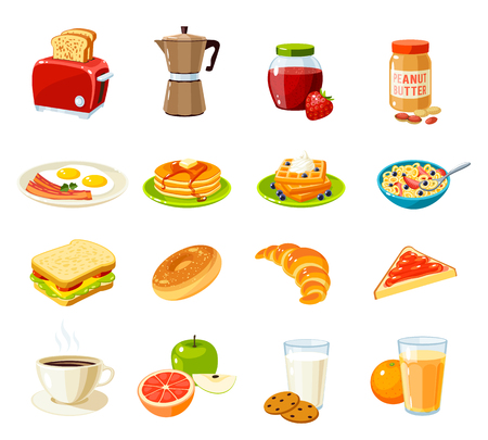 Set van cartoon voedsel: ontbijt. Broodrooster  koffiepot  jam  pindakaas  gebakken eieren en spek  pannenkoeken  wafels  cornflakes  broodje  broodje  croissant  fruit  sap en zo. Vector illustratie op wit wordt geïsoleerd.
