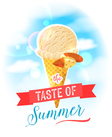 The taste of summer. Bright colorful poster with almond ice cream cone on the sky background. Design template for ADpromomenuflyer. Vector illustration eps10 isolated on white isolated on white