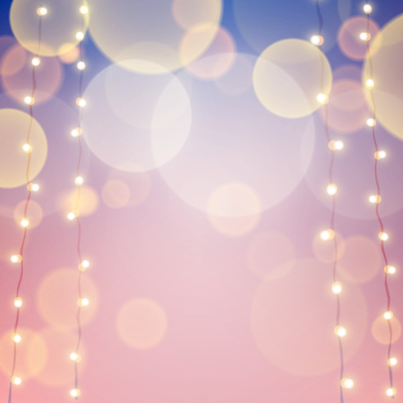 pink background: Pink and blue stylish unfocused background with bokeh carnival lights. Vector illustration eps10.