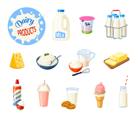 Set of cartoon food: dairy products - milk, yogurt, cheese, butter, milkshake, ice cream, whipped cream and so. Vector illustration, isolated on white.