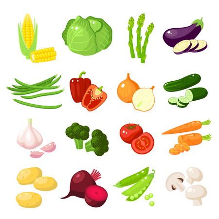 Set of cartoon food: vegetables - corn, cabbage, asparagus, eggplant, green bean, bell pepper, onion, cucumber, garlic, broccoli, tomato, carrot, potato and so. Vector illustration, isolated on white.