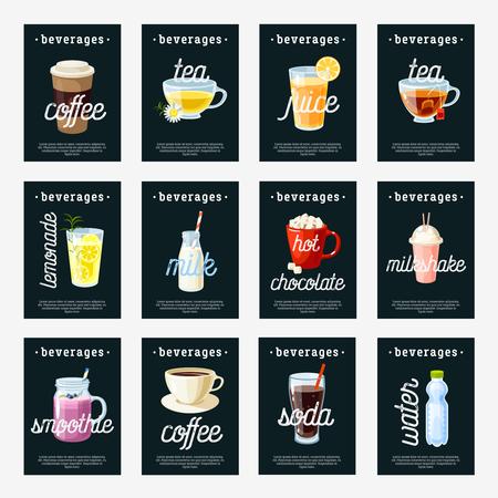 beverage: Set of non-alcoholic drinks tags - tea, herbal tea, hot chocolate, latte, coffee, juice, smoothie, soda, milkshake, lemonade, water. Design template labels. Vector illustration, isolated on white.