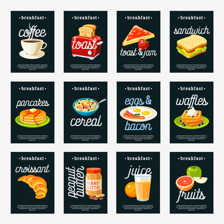 Set of breakfast tags - toaster/coffee pot/jam/peanut butter/fried eggs and bacon/pancakes/waffles/cornflakes/sandwich/bun/croissant/fruits/juice and so. Design template labels. Vector illustration.