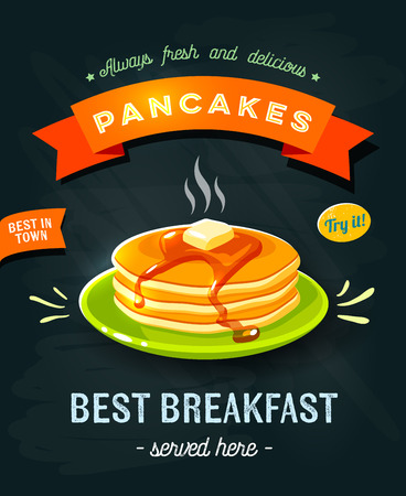 Best breakfast - chalkboard restaurant sign. Chalk styled poster with pile of best in town pancakes with butter and maple syrup. Vector illustration, eps10.