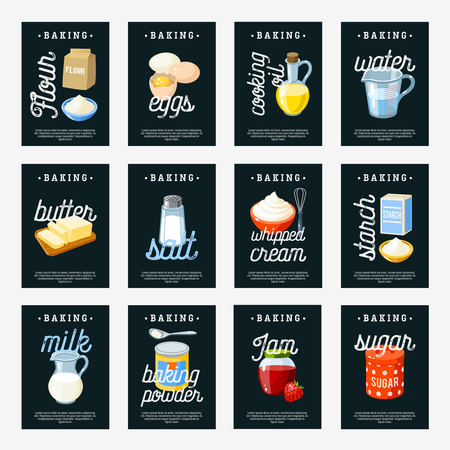 butter: Set of baking ingredients tags - floureggscooking oilwaterbuttersaltcreamstarchmilkbaking powderjamsugar. Chalkboard design template labels. Vector illustration, isolated on white. Illustration