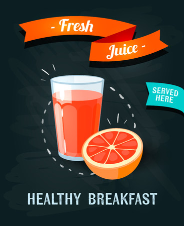 orange juice: Fresh juice - chalkboard restaurant sign. Chalk styled poster with glass of fresh juice and grape-fruit. Vector illustration, eps10.