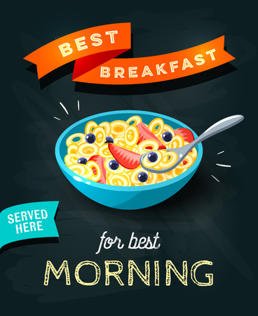 Best breakfast for best morning - chalkboard restaurant sign. Chalk styled poster with cereal with fruits, healthy breakfast. Vector illustration, eps10. Çizim