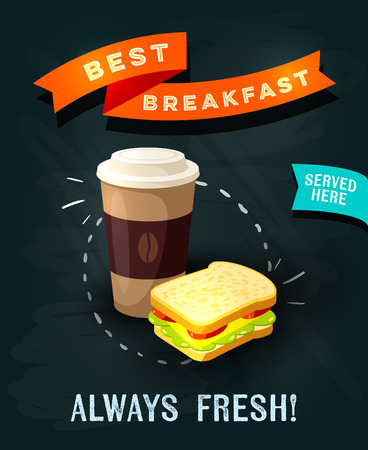go to store: Best breakfast always fresh - chalkboard restaurant sign. Chalk styled poster, coffee to go and sandwich. Vector illustration, eps10.