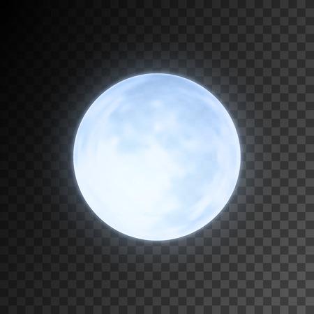 noche y luna: Realista detallada plena luna azul aislado en el fondo transparente. ilustración vectorial eps10, fácil de usar.