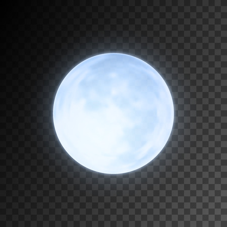 Realistic detailed full blue moon isolated on transparent background. Eps10 vector illustration, easy to use. Vettoriali