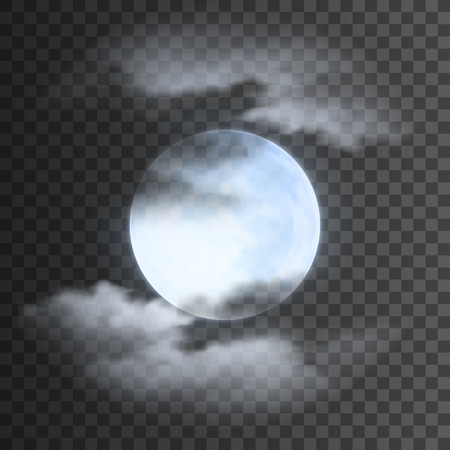 Realistic detailed full blue moon with clouds isolated on transparent background. Eps10 vector illustration, easy to use.