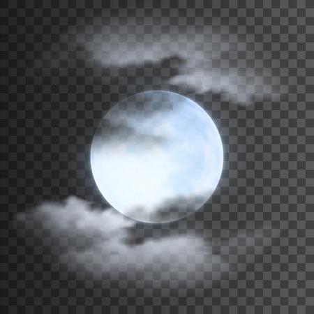Realistische detaillierte vollen blauen Mond mit Wolken auf transparentem Hintergrund. Eps10 Vektor-Illustration, einfach zu bedienen. Standard-Bild - 61392583