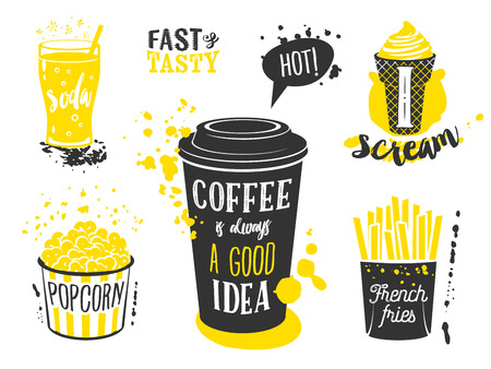glass cup: Coffee cup, glass of soda, ice cream cone, french fries and popcorn silhouettes with lettering and blots and stains. Vector illustration isolated on white, eps10.