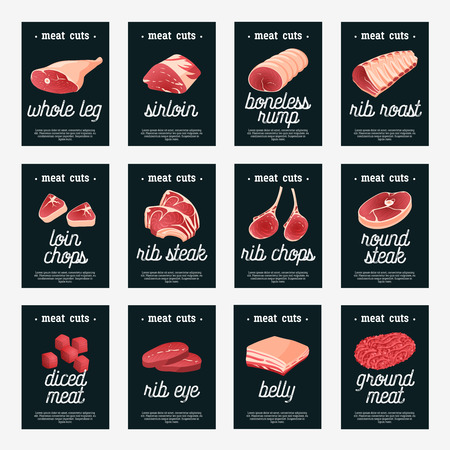 Set of meat cuts assortment tags - beef/pork/lamb/round steak/boneless rump/whole leg/rib roast/loin and rib chops/rustic belly/ground meat/diced meat. Design template labels. Isolated on white. Illustration