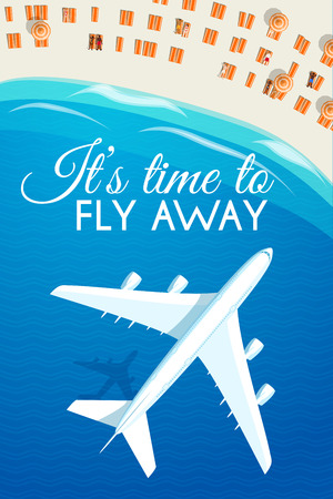 maldives island: Tourism theme poster. White airplane flying over the sea to the tropical resort, top view. Design template for brochuresadvertisingbannersflyers and so. Vector illustration, eps10.