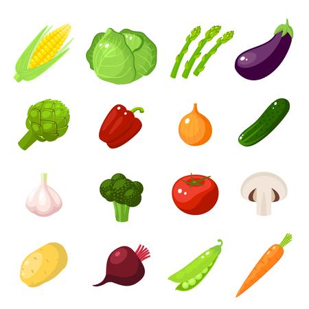 Conjunto de alimentos de dibujos animados: verduras - maíz, repollo, espárragos, berenjena, zanahoria, pimiento, cebolla, pepino, ajo, brócoli, tomate, champiñones, patatas y así. Ilustración vectorial, aislado en blanco. Vectores