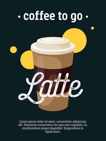 caffe: Coffee to go - blackboard restaurant sign, poster with cup of latte. Vector illustration, eps10.