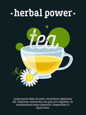 advertising design: Herbal power - blackboard restaurant sign, poster with cup of green tea with camomile. Vector illustration, eps10.