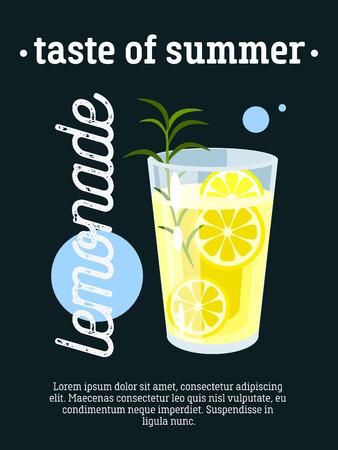 summer sign: Taste of summer - blackboard restaurant sign, poster with glass of fresh lemonade. Vector illustration, eps10.