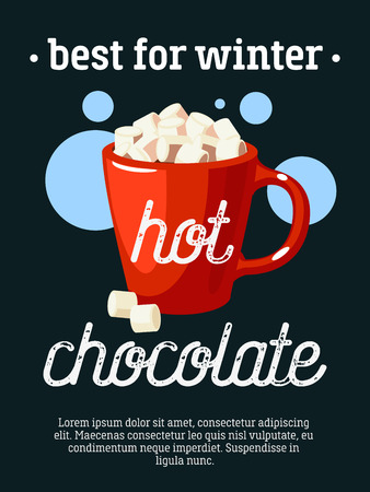 Best for winter - blackboard restaurant sign, poster with cup of hot chocolate and marshmallows. Vector illustration, eps10.