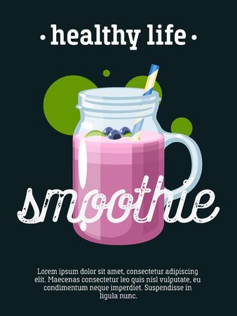 Healthy life - blackboard restaurant sign, poster with jar of smoothie. Vector illustration, eps10. Illustration