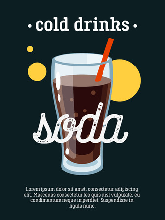 cold drinks: Cold drinks - blackboard restaurant sign, poster with glass of soda. Vector illustration, eps10. Illustration