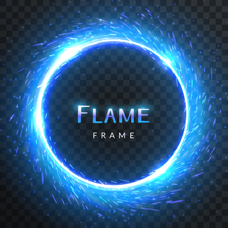 Realistic round blue flame frame with inscribed text, vector template illustration on transparent background