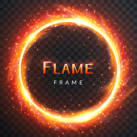 Realistic round light fire flame frame with inscribed text, vector template illustration on transparent background Banco de Imagens - 81714718