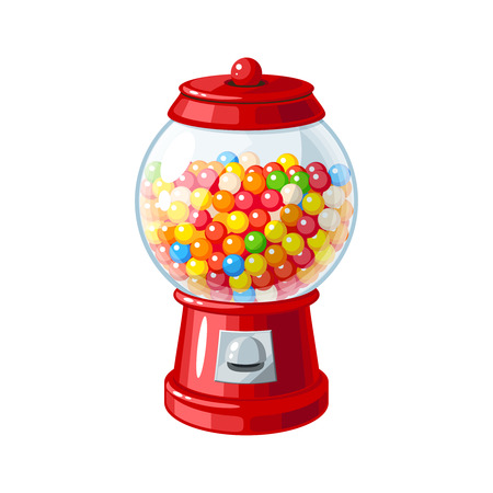 Transparent round glass candy dispenser with colorful bubble gum. Vector illustration flat icon isolated on white.