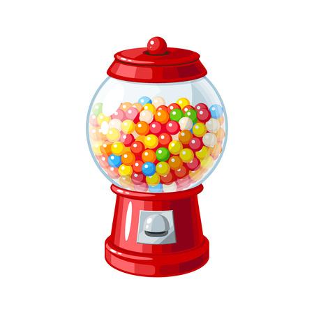 Transparante glazen snoep dispenser met kleurrijke kauwgom. Vector illustratie platte pictogram geïsoleerd op wit.
