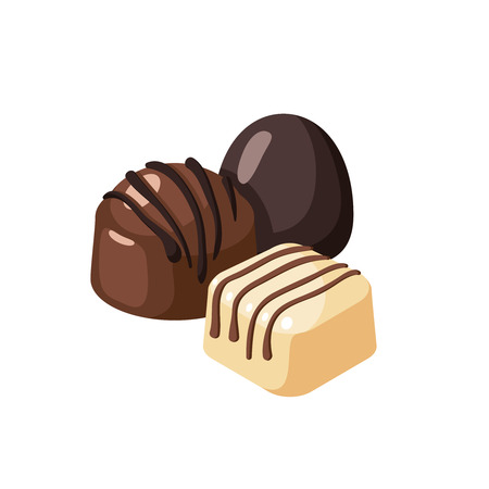 Striped dark white chocolate covered bon-bons. Vector illustration candy  flat icon isolated on white. Ilustração