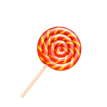 Sweet colorful spiral lollipop. Vector illustration candy  flat icon isolated on white.