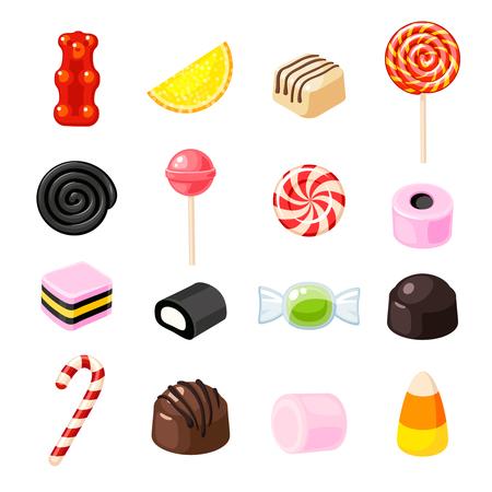 Set Single Cartoon Süßigkeiten: Lutscher, Zuckerstange, Bonbon, Marmelade Teddybär, Lakritze, kandierte Früchte. Vector Sammlung von flachen Symbol Illustration, isoliert auf weiß. Standard-Bild - 82433079