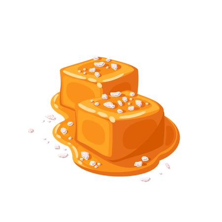 Piece of salted caramel .Vector illustration flat icon isolated on white. Çizim