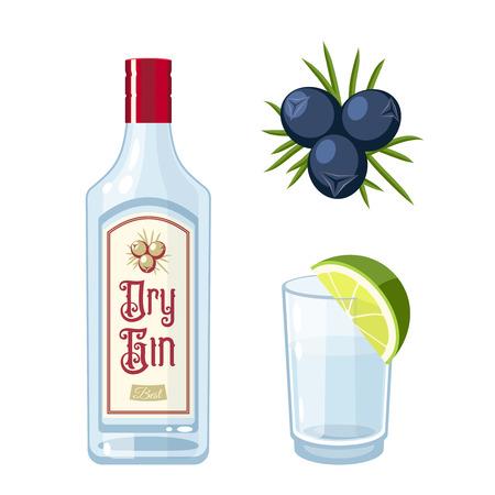 Conjunto de botella de ginebra seca, tónico cóctel con limón, bayas de enebro. Ilustración vectorial icono plano aislado en blanco. Ilustración de vector