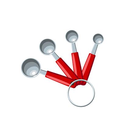 Conjunto de medición de cucharas de metal con asas rojas. Icono plano de ilustración vectorial aislado en blanco. Foto de archivo - 82433092