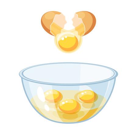 茶色の卵を割る、ボウルに注ぐ。ベクトル図のフラット アイコンは、白で隔離。
