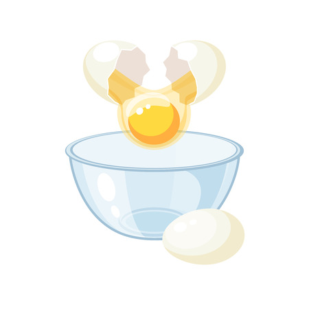 Break the white egg and pour into a bowl. Vector illustration flat icon isolated on white. Illustration