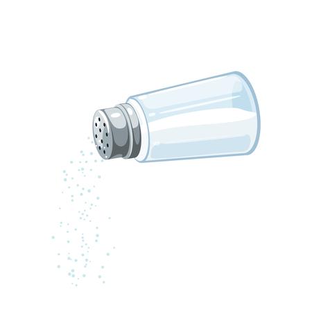 Salero transparente con tapa metálica, vierte sal.