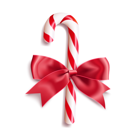 Realistic christmas candy cane with red satin bow knot. Vector illustration icon isolated on white.