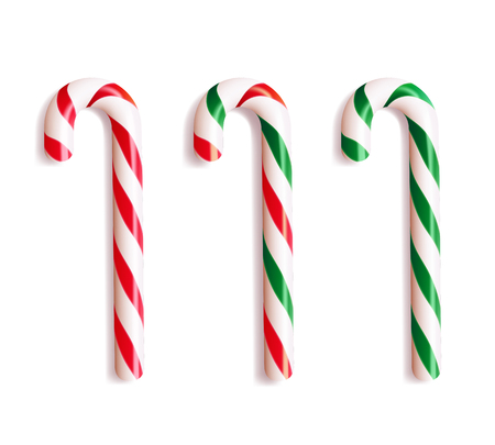 Set of realistic christmas candy cane. Vector illustration icon isolated on white.