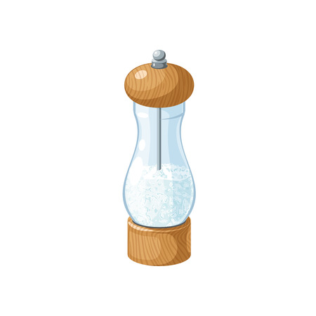 Transparent glass salt mill with wooden bottom and cap. Vector cartoon illustration flat icon isolated on white. Illustration