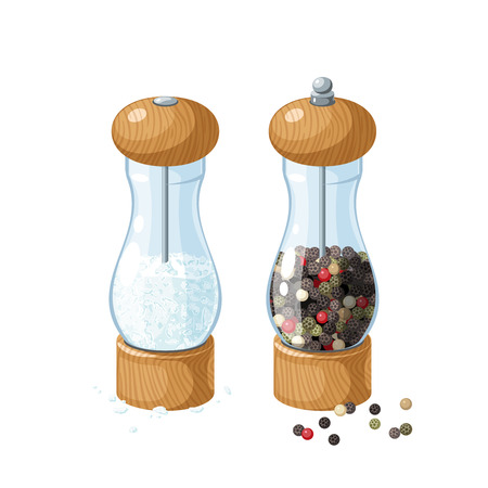 Pair transparent glass mill with wooden bottom and cap, filled with pepper corns, filled with salt, and pepper peas. Vector illustration cartoon flat icon, isolated on white. Illustration